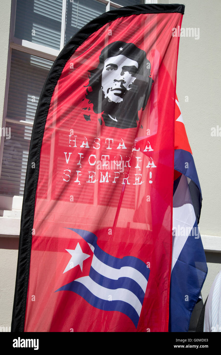 Mayday 2016. Clerkenwell. Cuba solidarity. Che flag and Cuban flag. International Workers Day. - Stock Image