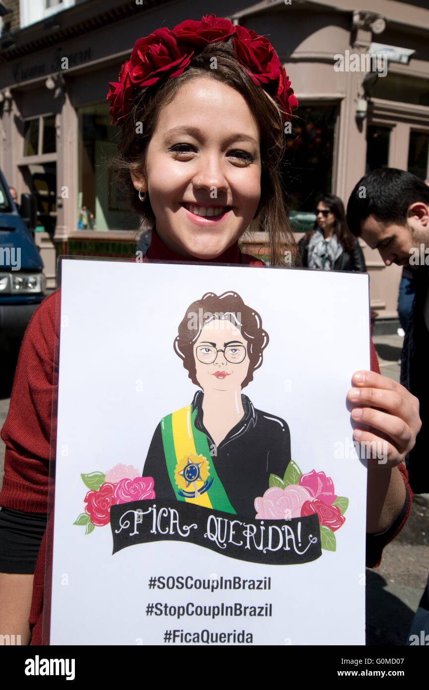 Mayday 2016. Clerkenwell. A supporter of Brazilian President Dilma Roussef. International Workers Day. - Stock Image