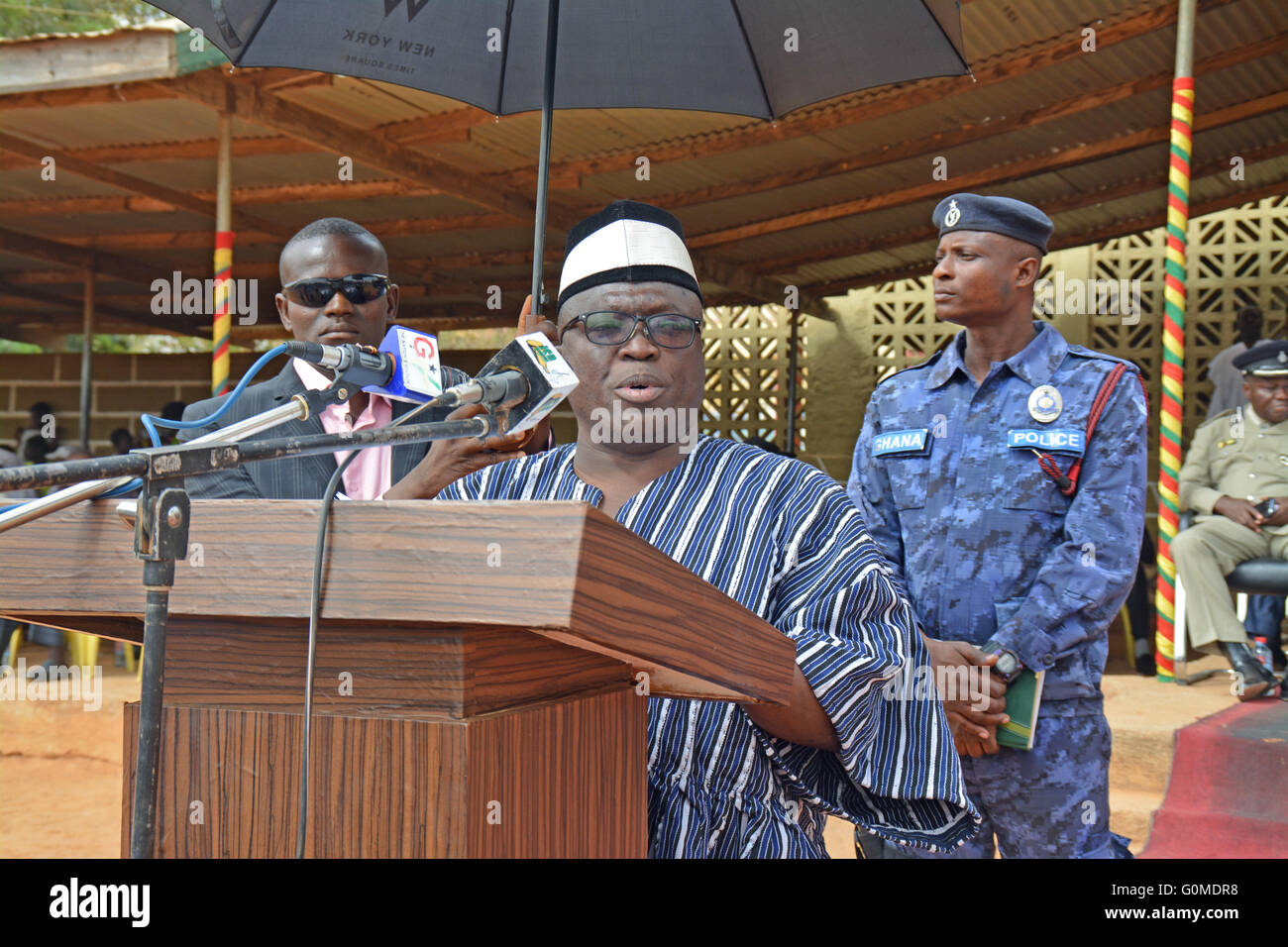 Bolgatanga, Ghana - The Upper East regional minister giving a speech at Ghana`s Independence Day. - Stock Image