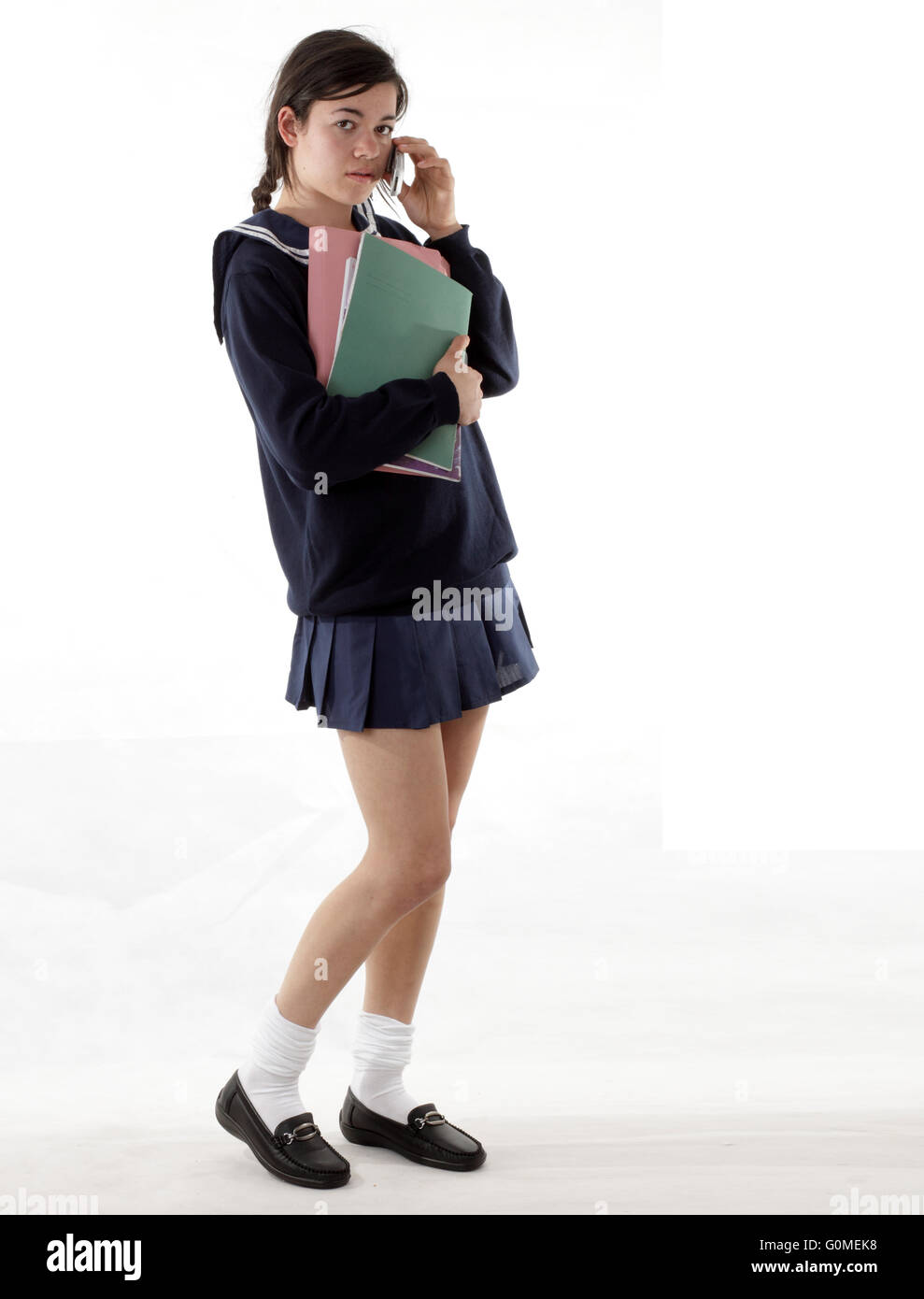 Mixed Race Young Woman Dressed In A Japanese Style Schoolgirls Stock Photo 103712764 -5434