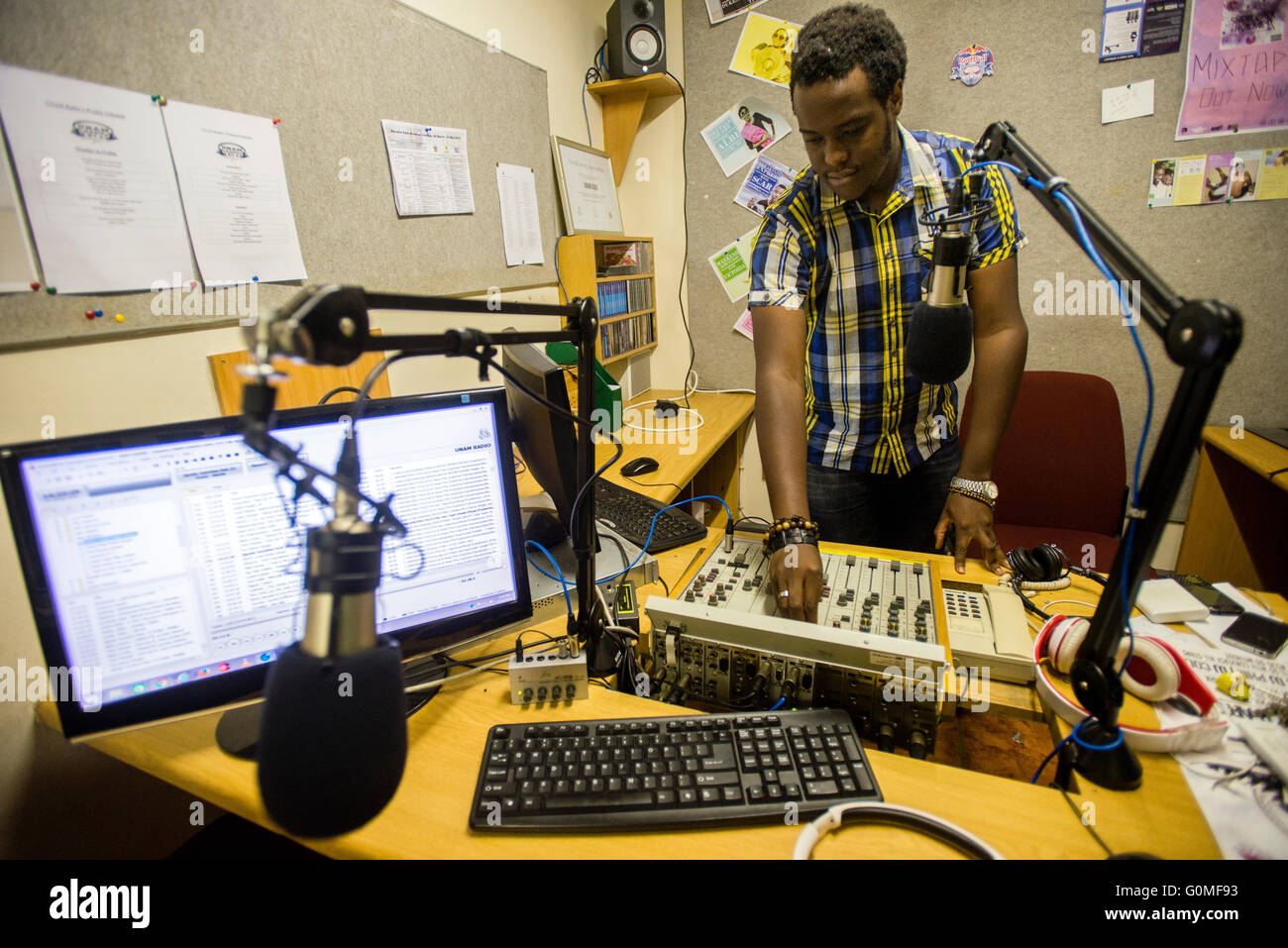 Students of the university of namibia work as djs of unam radio 974 students of the university of namibia work as djs of unam radio 974 it has started its broadcast in 2000 the radio was established as a part of the altavistaventures Image collections