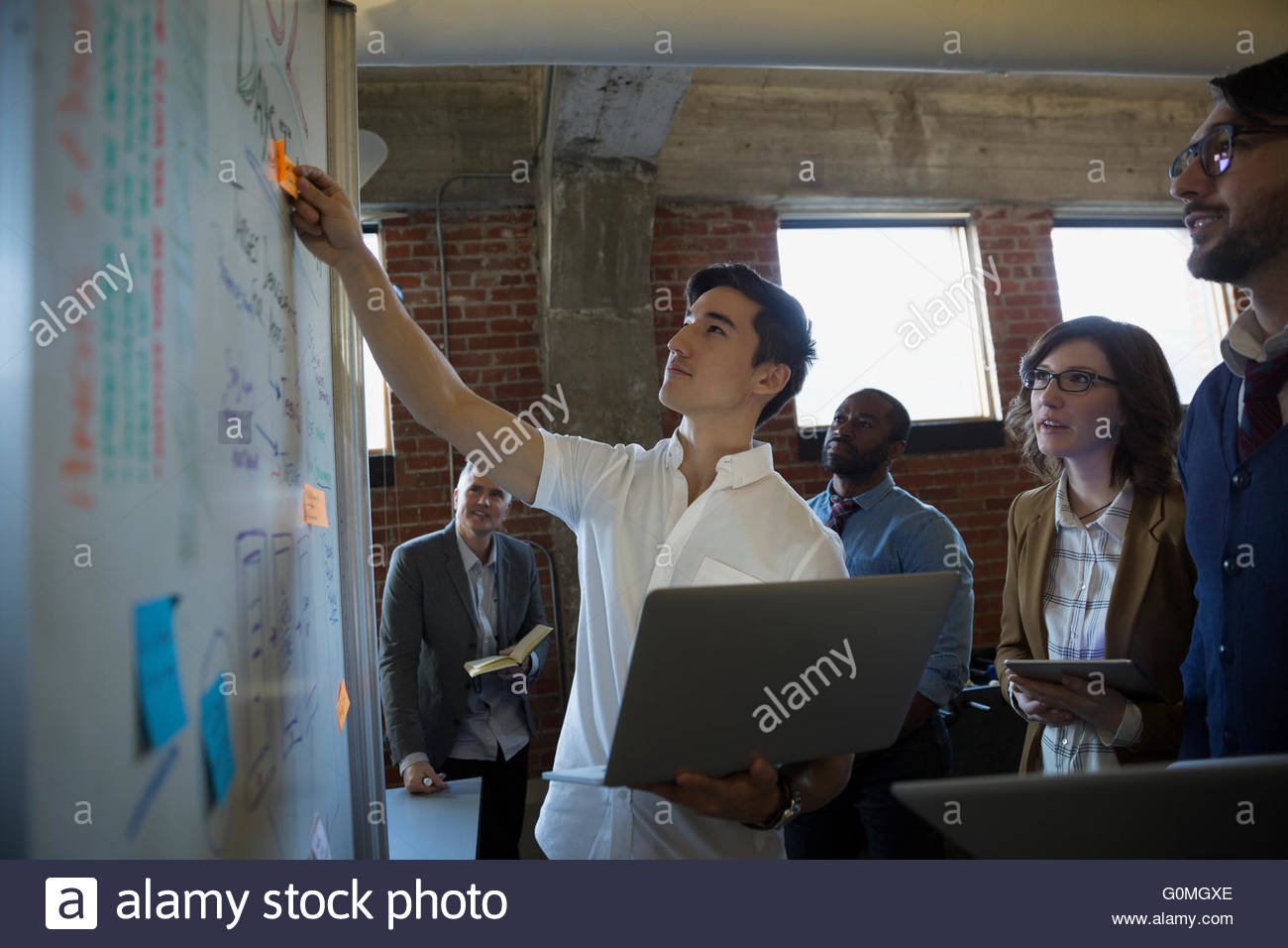 Entrepreneurs brainstorming at whiteboard - Stock Image