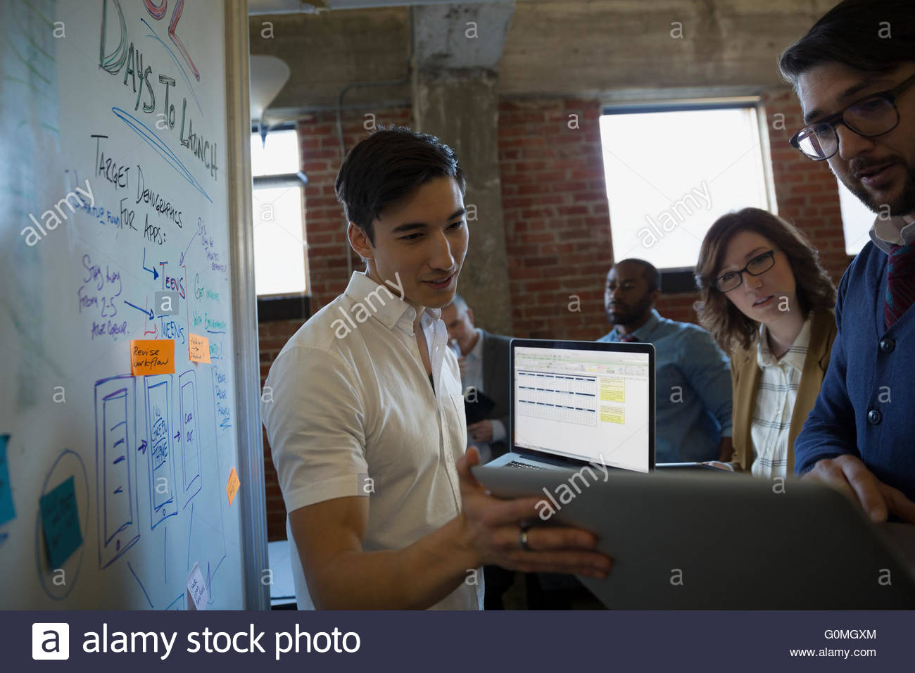 Entrepreneurs brainstorming launch campaign at whiteboard - Stock Image