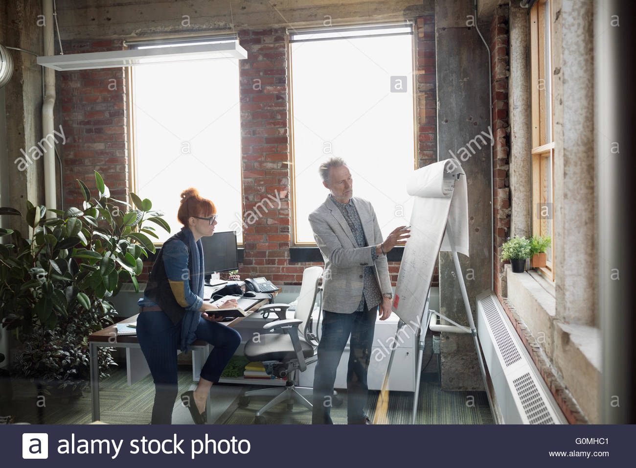 Businessman explaining flipchart to coworker in office - Stock Image