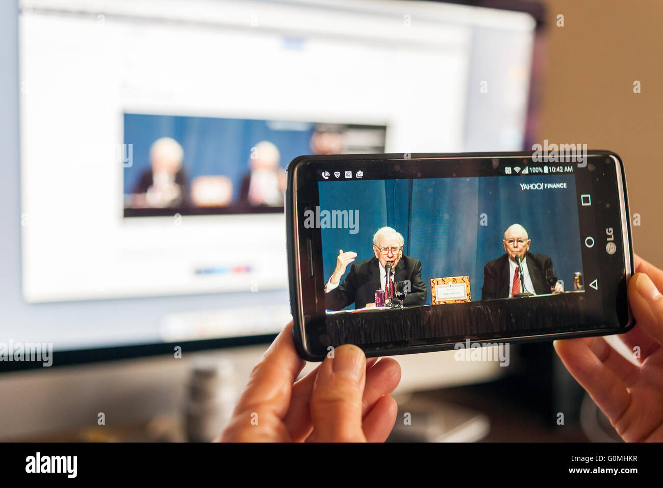 For the first time the annual shareholder meeting of Berkshire Hathaway, from Omaha, Nebraska, is being live streamed - Stock Image