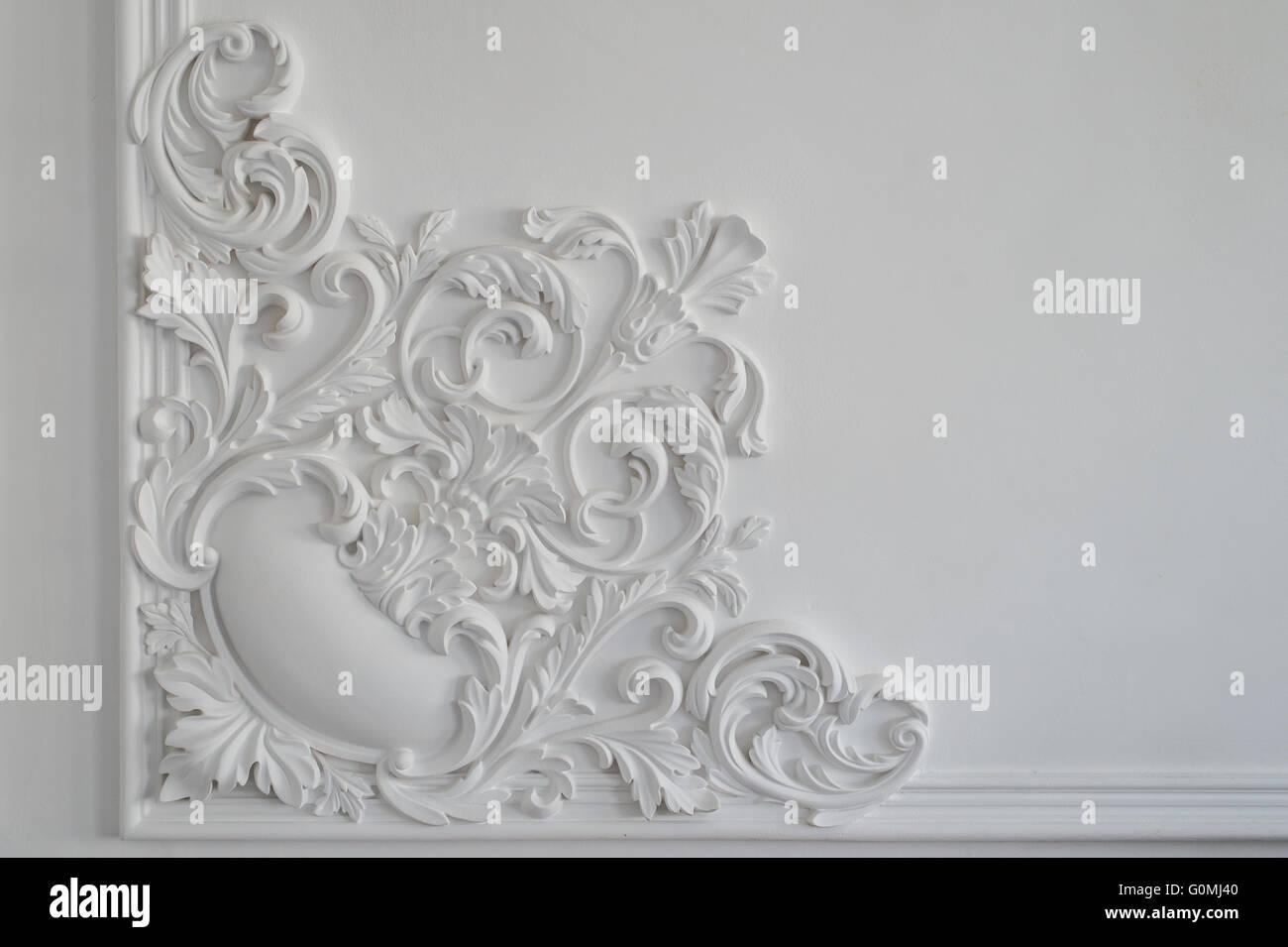 White wall molding with geometric shape and vanishing point. Horizontal - Stock Image