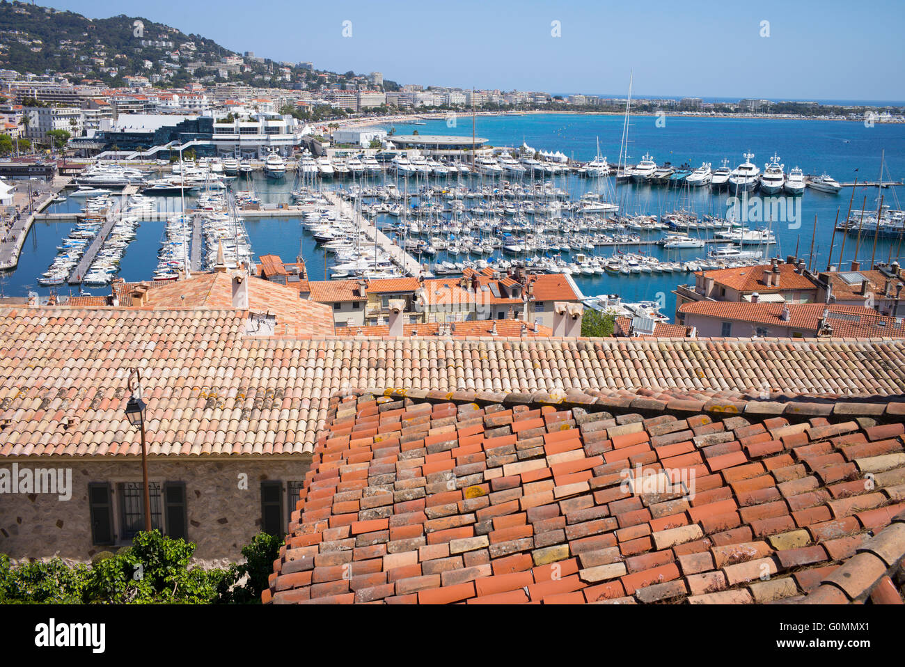 The harbour at Cannes, France seen from the old town of Le Suquet - Stock Image