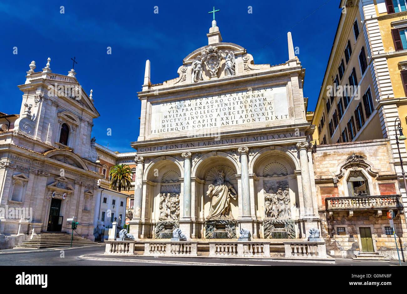 Fontana dell'Acqua Felice in Rome - Stock Image