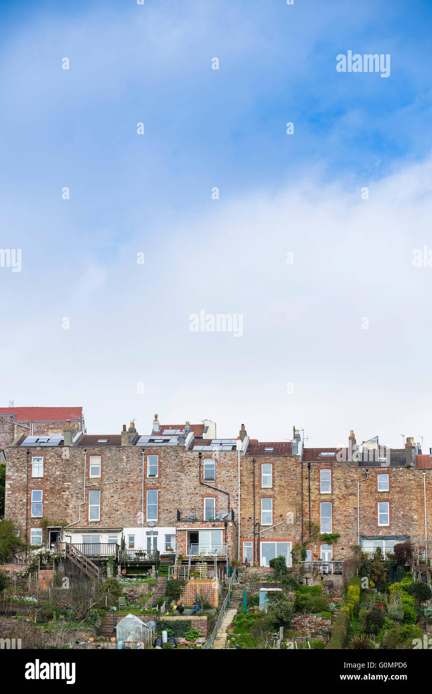 A terraced row of houses in Bristol, south west England, UK. - Stock Image