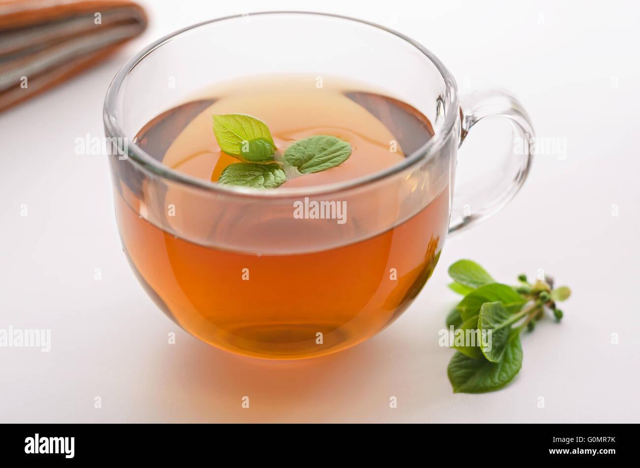 Cup of tea with lemongrass - Stock Image