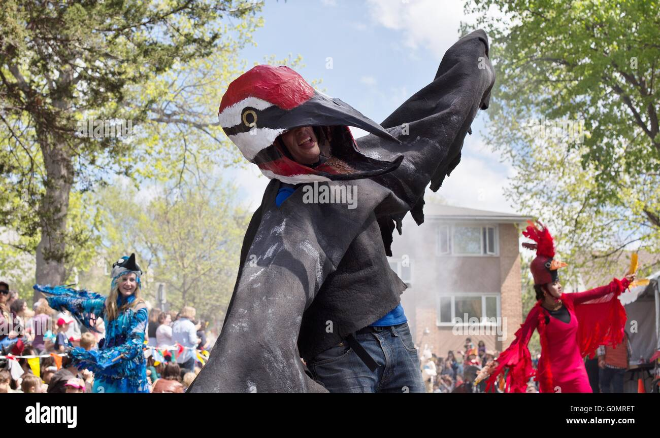 People dancing in bird costumes at the May Day celebration including parade and festival in Minneapolis Minnesota USA. & People dancing in bird costumes at the May Day celebration including ...