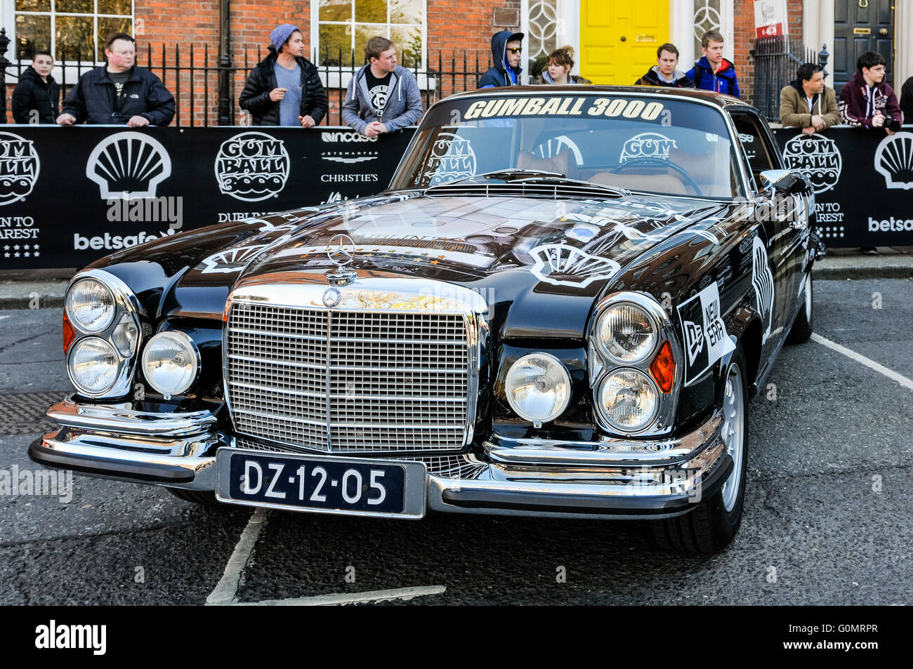 DUBLIN, IRELAND. MAY 01 2016 - A newly restored 1970 Mercedes 250 Coupe (with a 5.5l engine) waits for the start - Stock Image