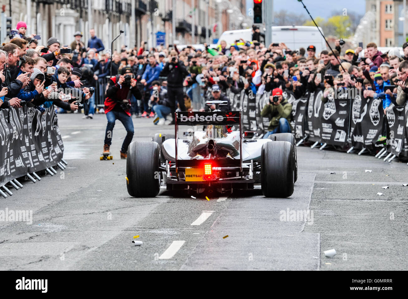 DUBLIN, IRELAND. MAY 01 2016 - The  Formula 1 team leave Dublin on a 6 day drive to Bucharest. - Stock Image