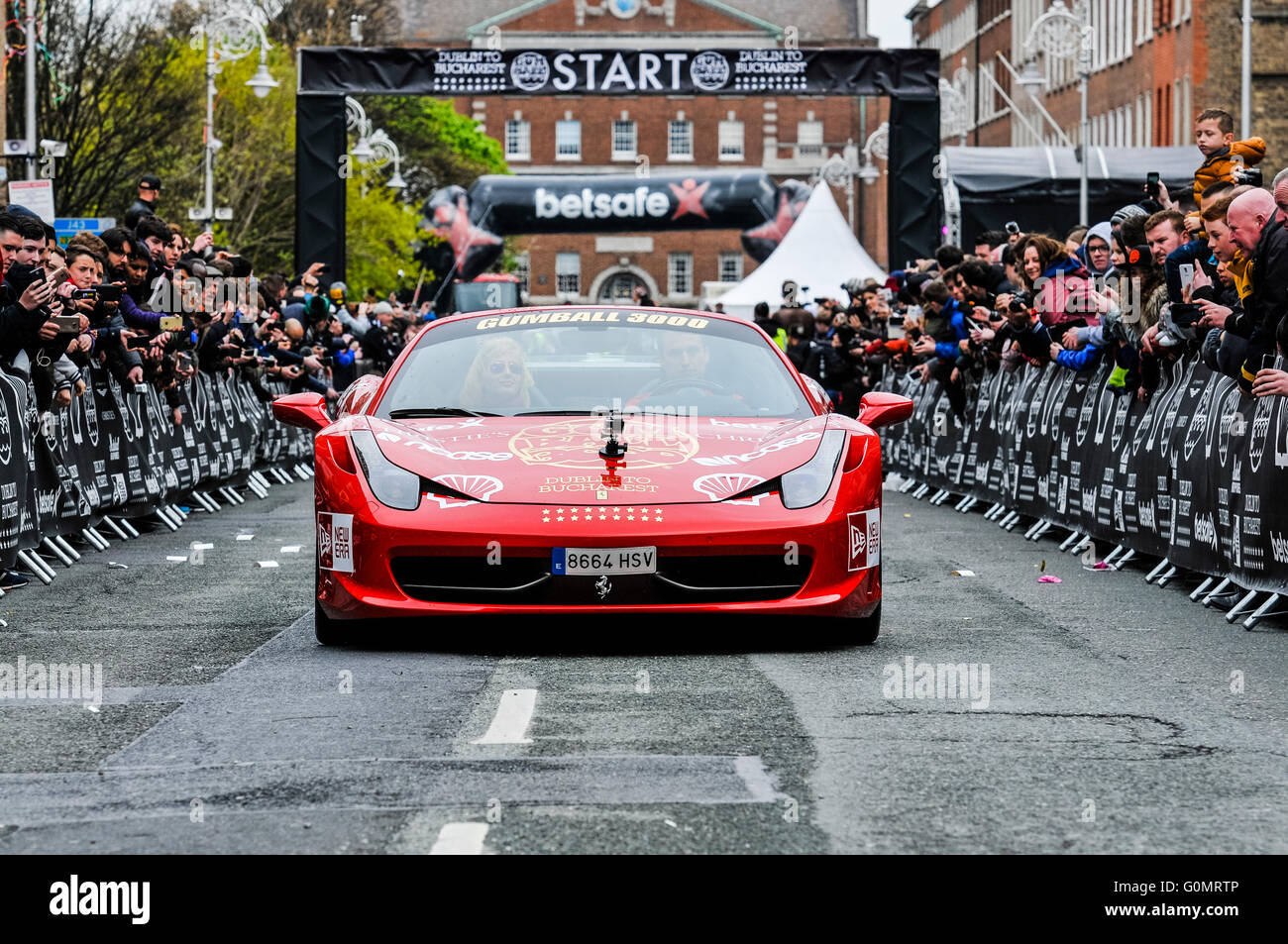 DUBLIN, IRELAND. MAY 01 2016 - A Ferarri 458 starts the 6 day drive to Bucharest from Dublin as it competes in the - Stock Image