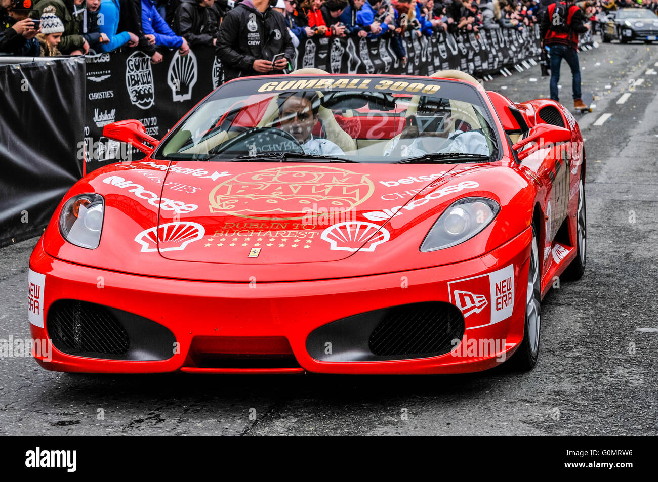DUBLIN, IRELAND. MAY 01 2016 - A Ferrari F430 starts the 6 day drive to Bucharest from Dublin as it competes in - Stock Image