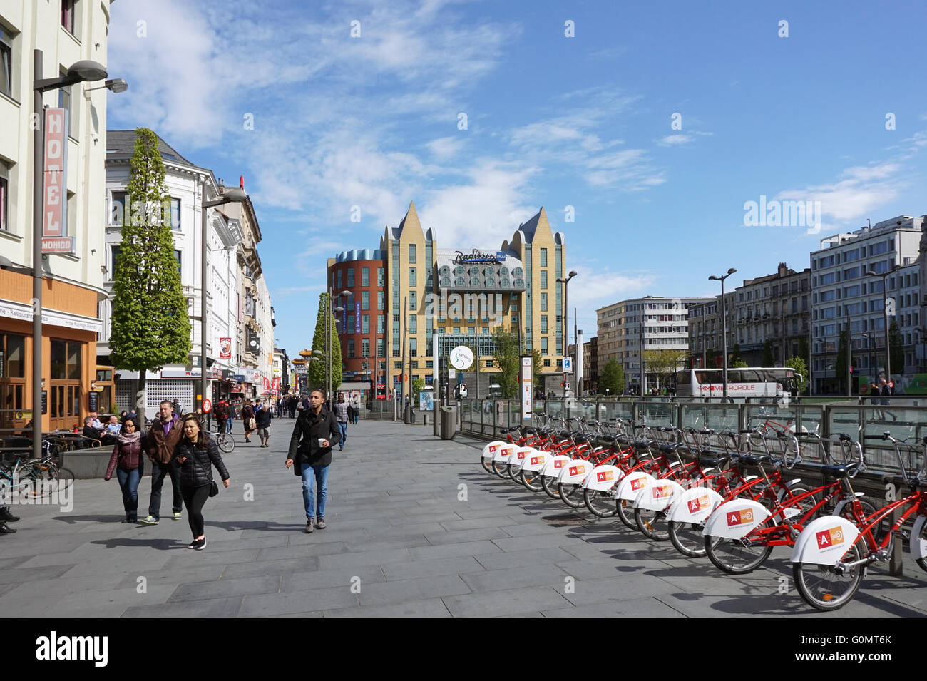 Bycicle parking Antwerp Queen Astrid plaza Hotel radisson tourists - Stock Image