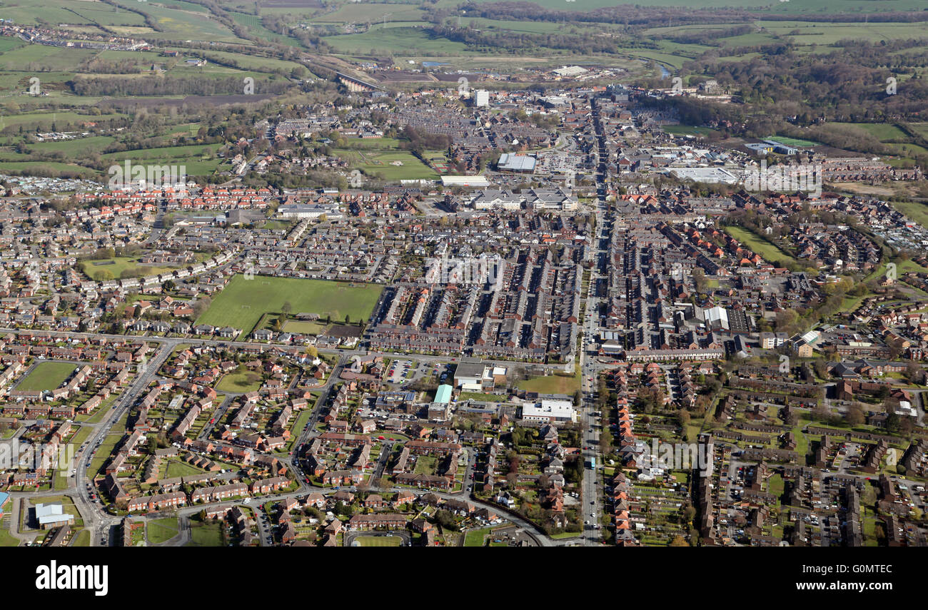 aerial view of Bishop Auckland town, County Durham, UK - Stock Image
