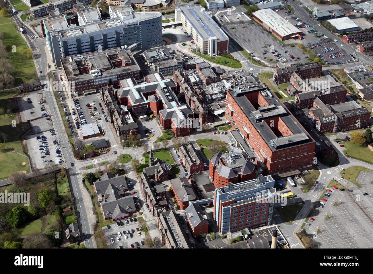 aerial view of Jimmy's - St James's Hospital in Leeds, West Yorkshire, UK - Stock Image