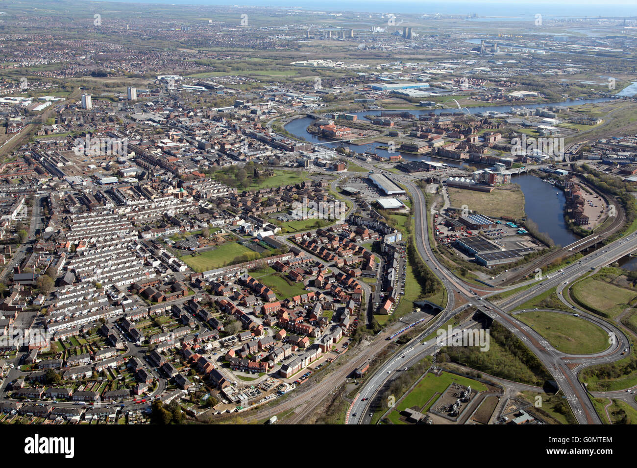 aerial view of Stockton-on-Tees with the A66 & River Tees prominent, UK - Stock Image