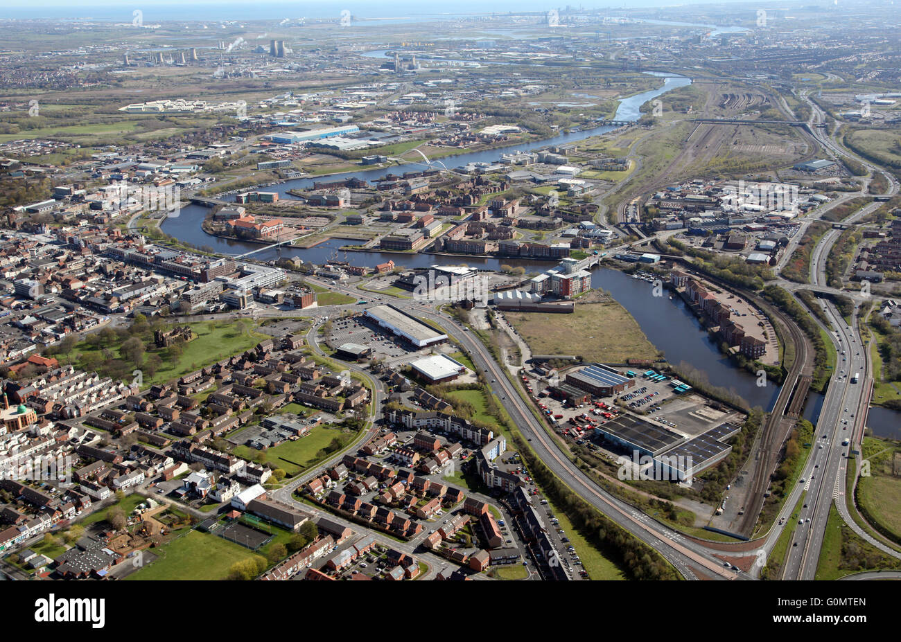 aerial view of Stockton-on-Tees with the A66 & River Tees prominent, UK Stock Photo