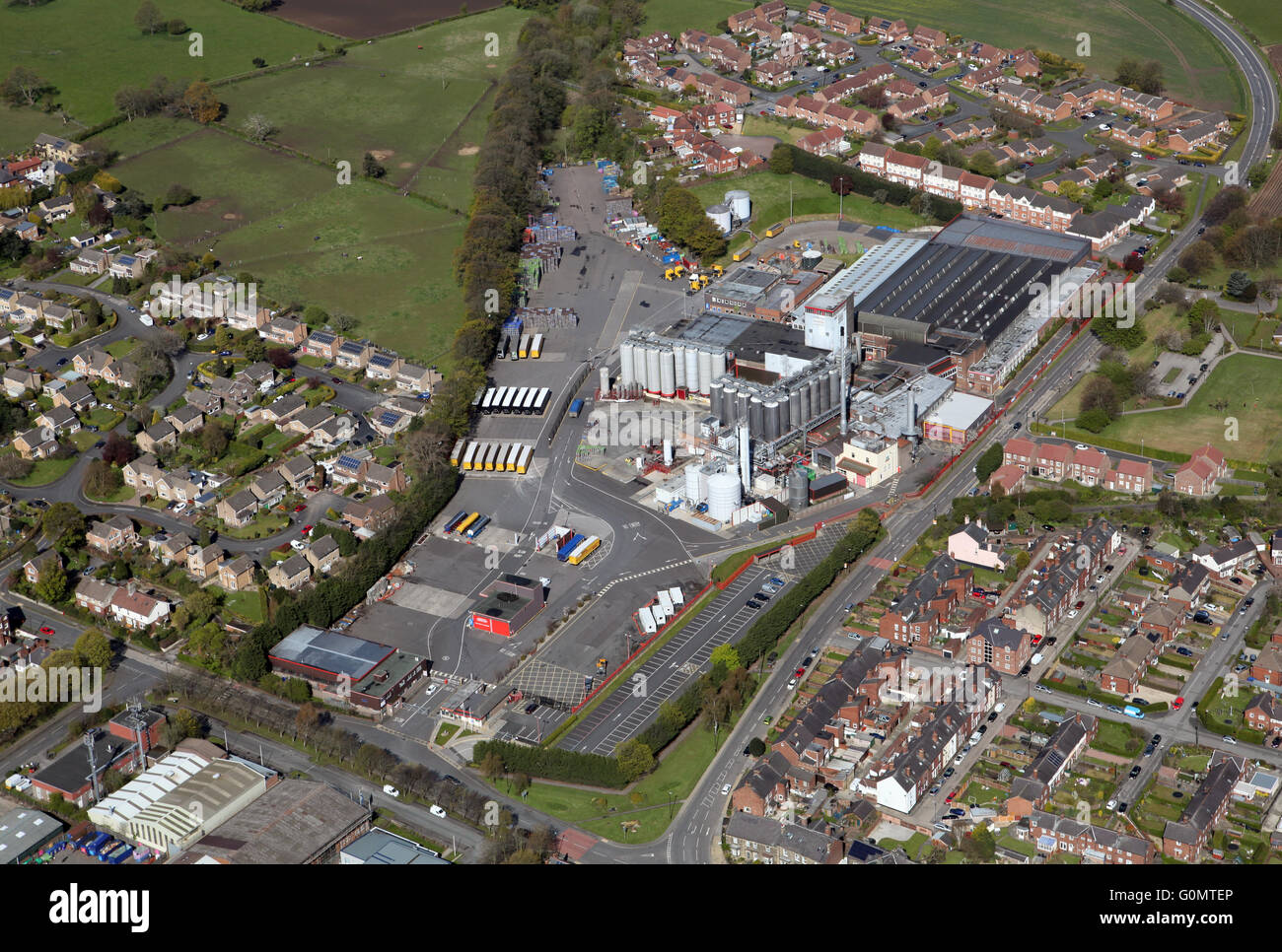 aerial view of Tower Brewery in Tadcaster, Yorkshire, UK - Stock Image