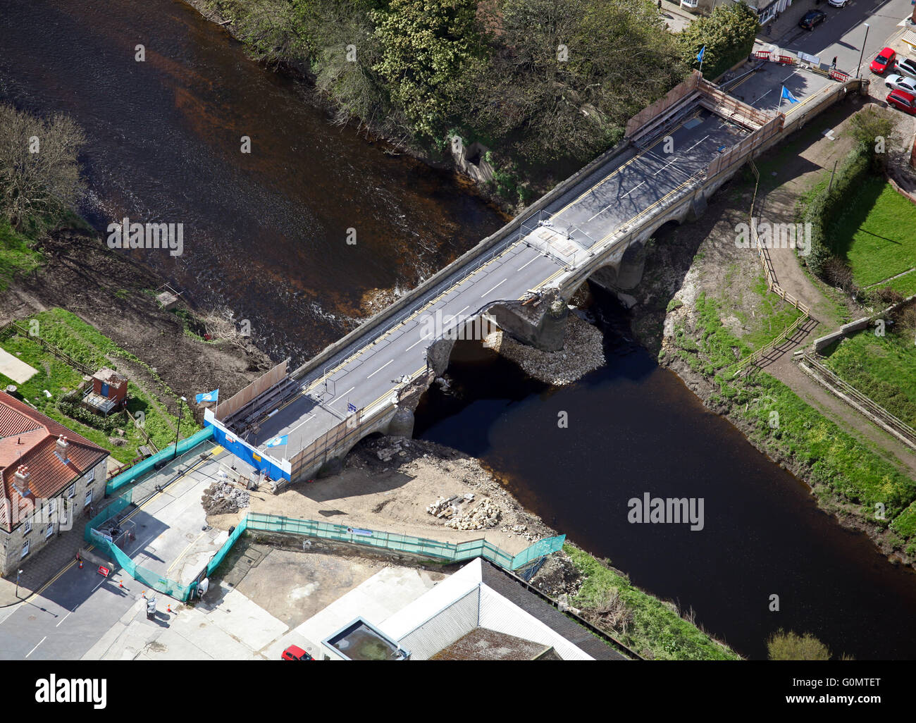 aerial view of the badly damaged A659 road bridge through Tadcaster in Yorkshire over the River Wharf after flooding, Stock Photo