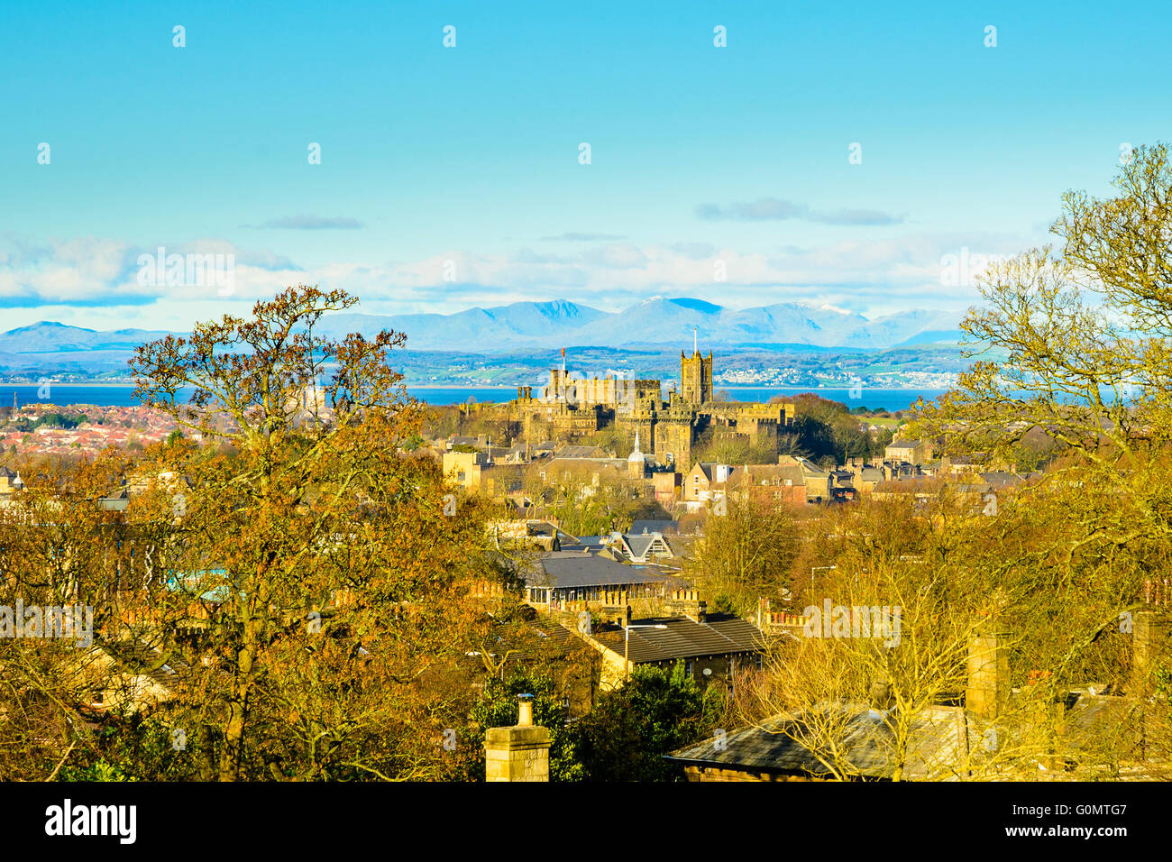 View towards Castle Hill Lancaster Lancashire England with the Lakeland fells beyond - Stock Image