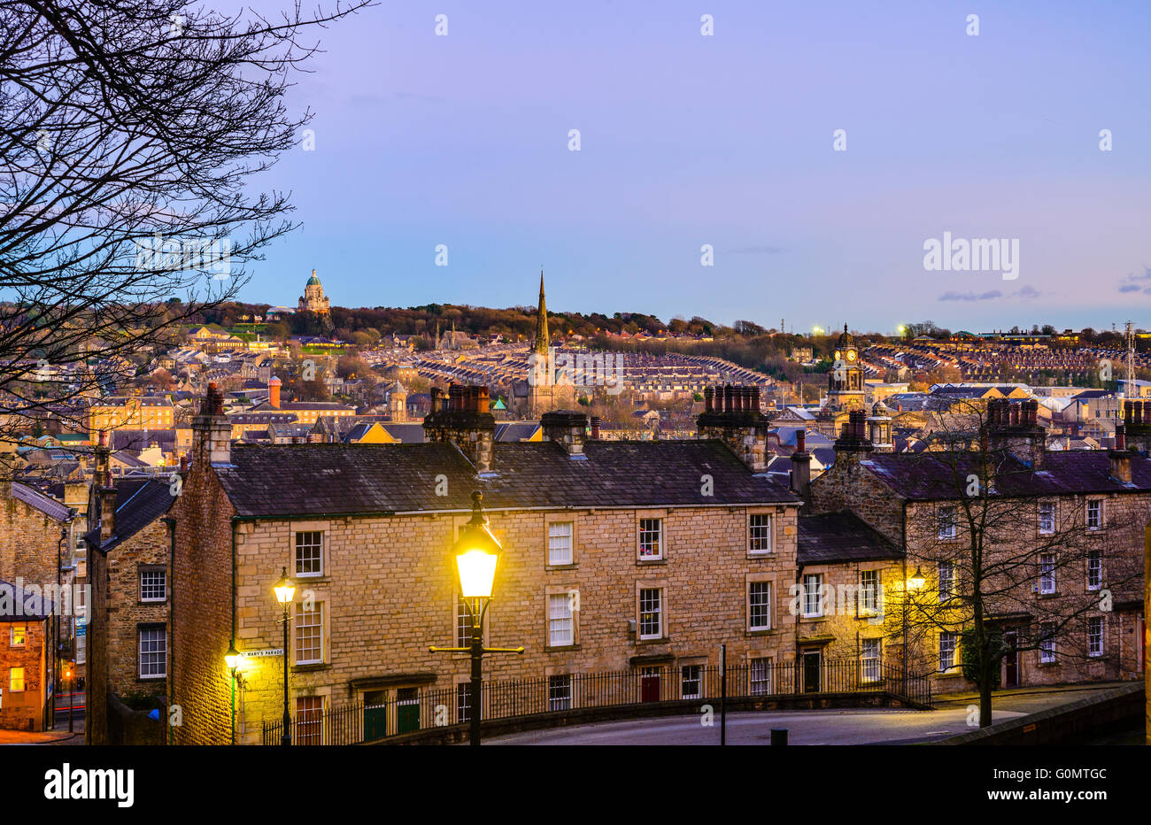 Evening view over Lancaster England from Castle Hill with the Ashton Memorial on the skyline Stock Photo