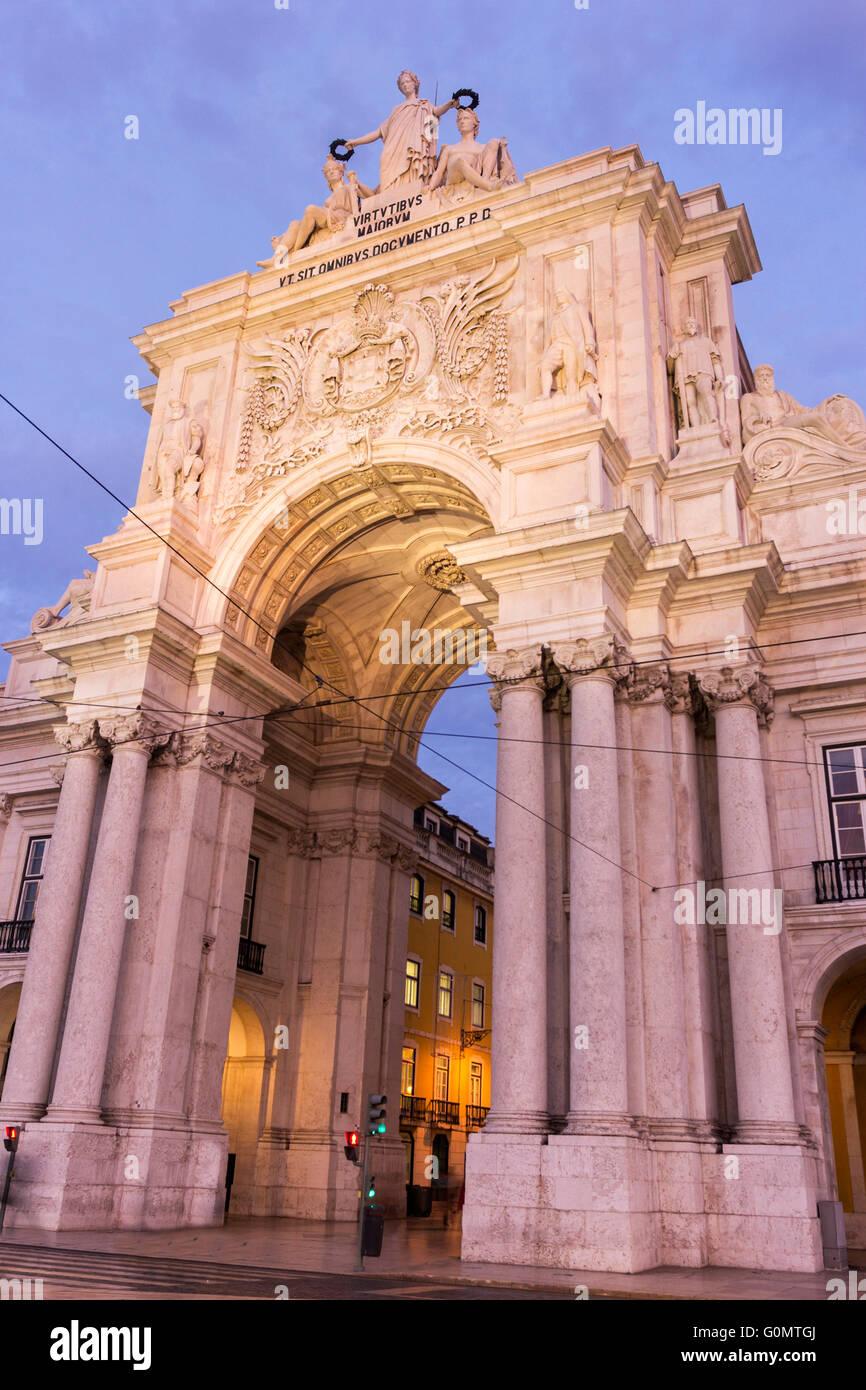 Rua Augusta Arch in Lisbon - Stock Image