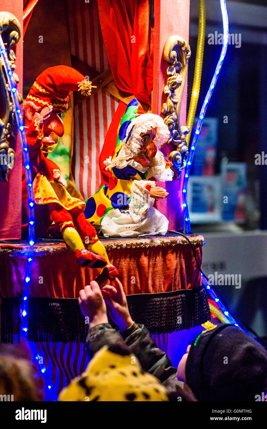 Punch and Judy show during the Victorian Christmas Festival in Garstang Lancashire - Stock Image