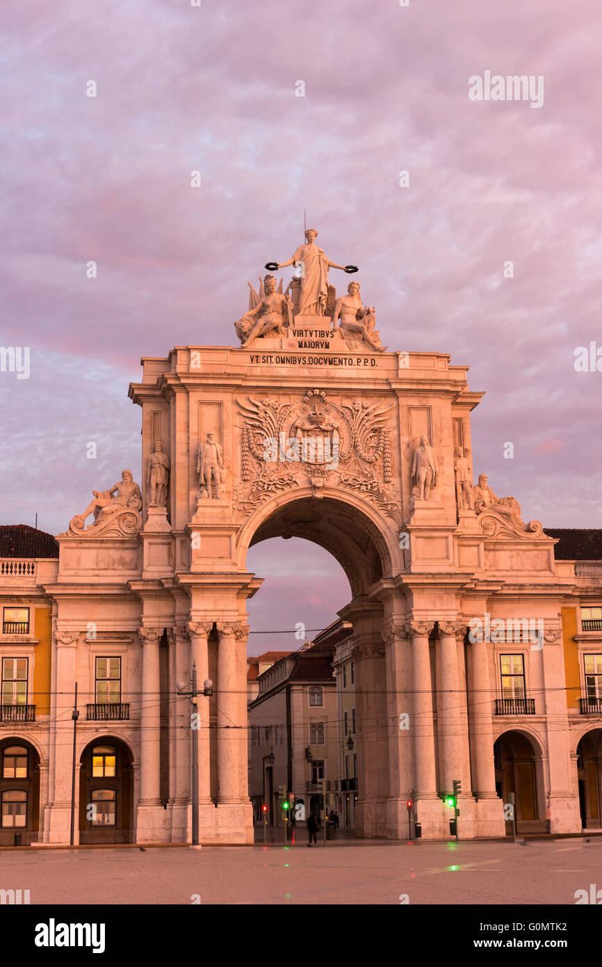 Rua Augusta Arch in Lisbon in Portugal - Stock Image
