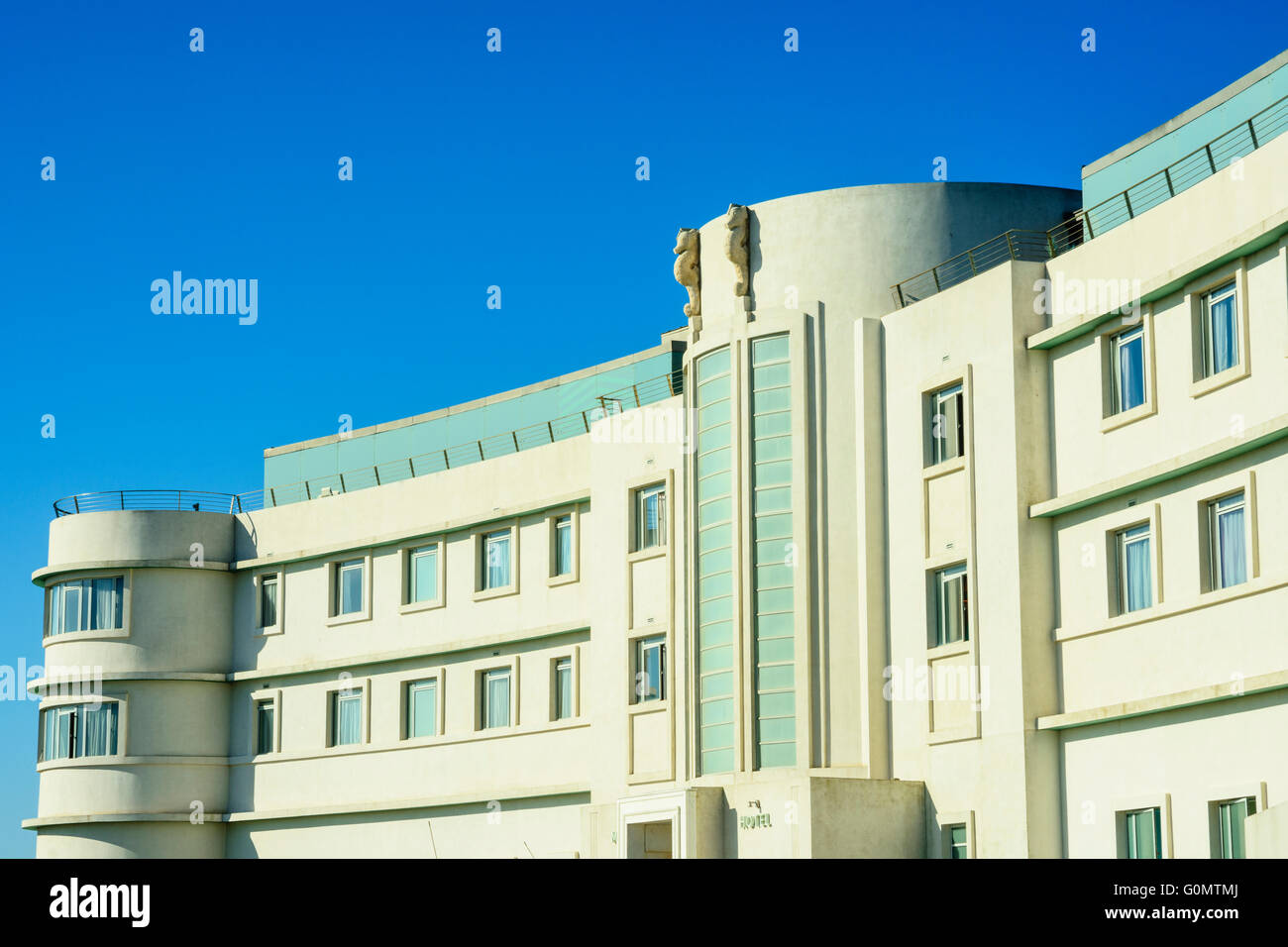 The Midland Hotel in Morecambe Lancashire England, an Art Deco masterpiece first opened in 1933 and restored in - Stock Image