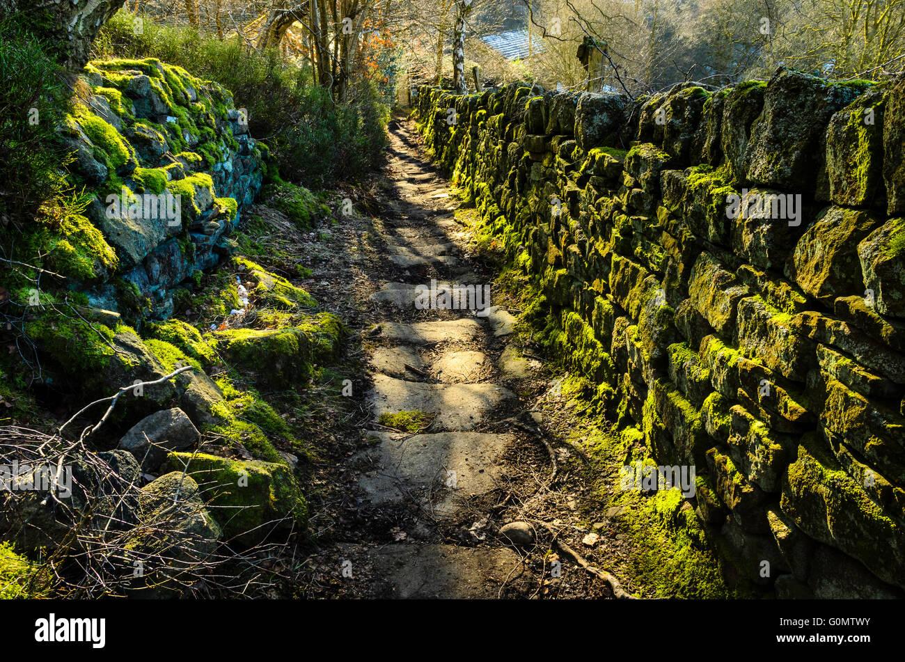 Old bridleway near Hebden Bridge in Calderdale West Yorkshire - Stock Image