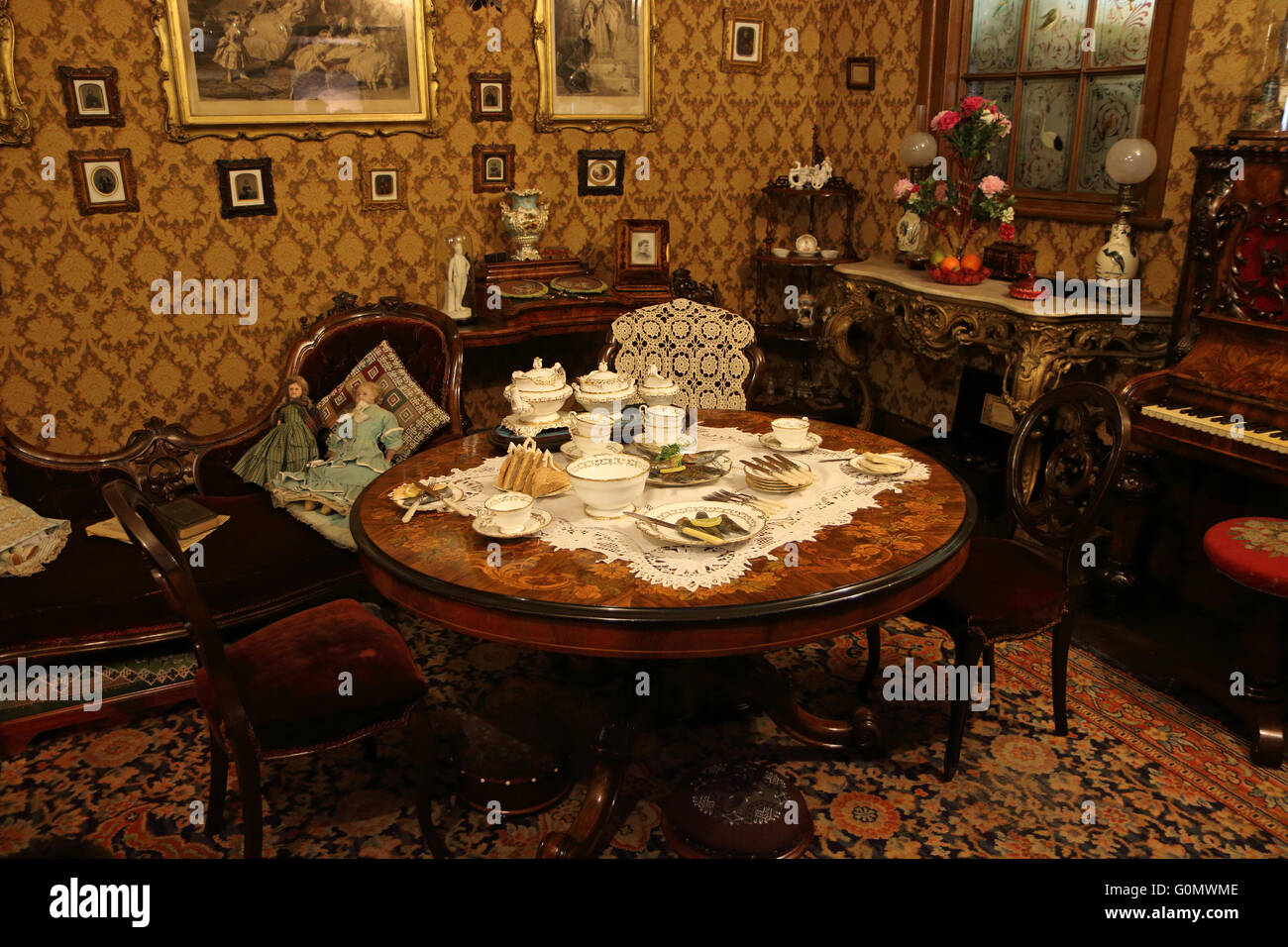 room depicting a victorian parlor or living room decorated and stock