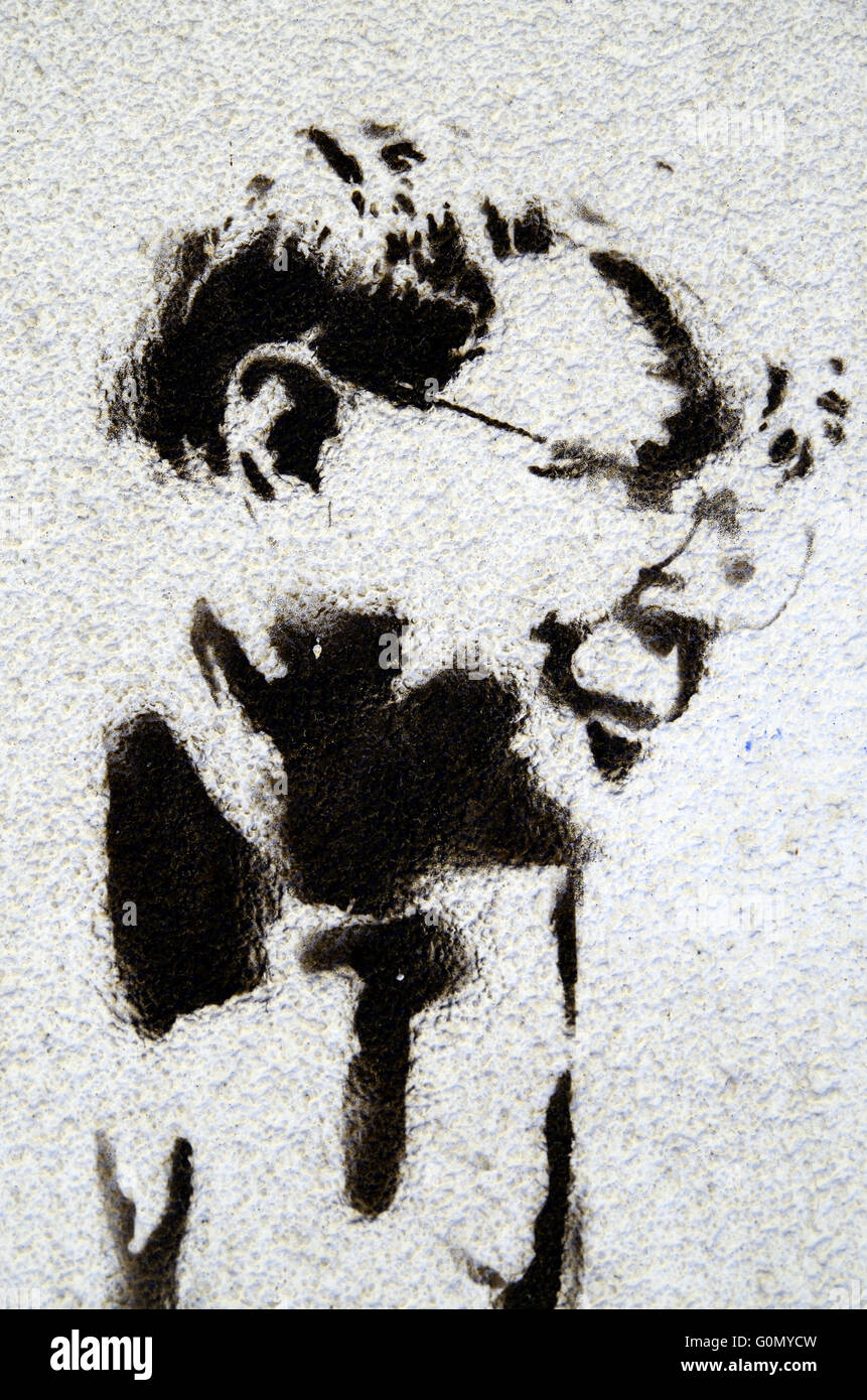 Painted graffito of Alan Bennett, BBC Yorkshire - Stock Image