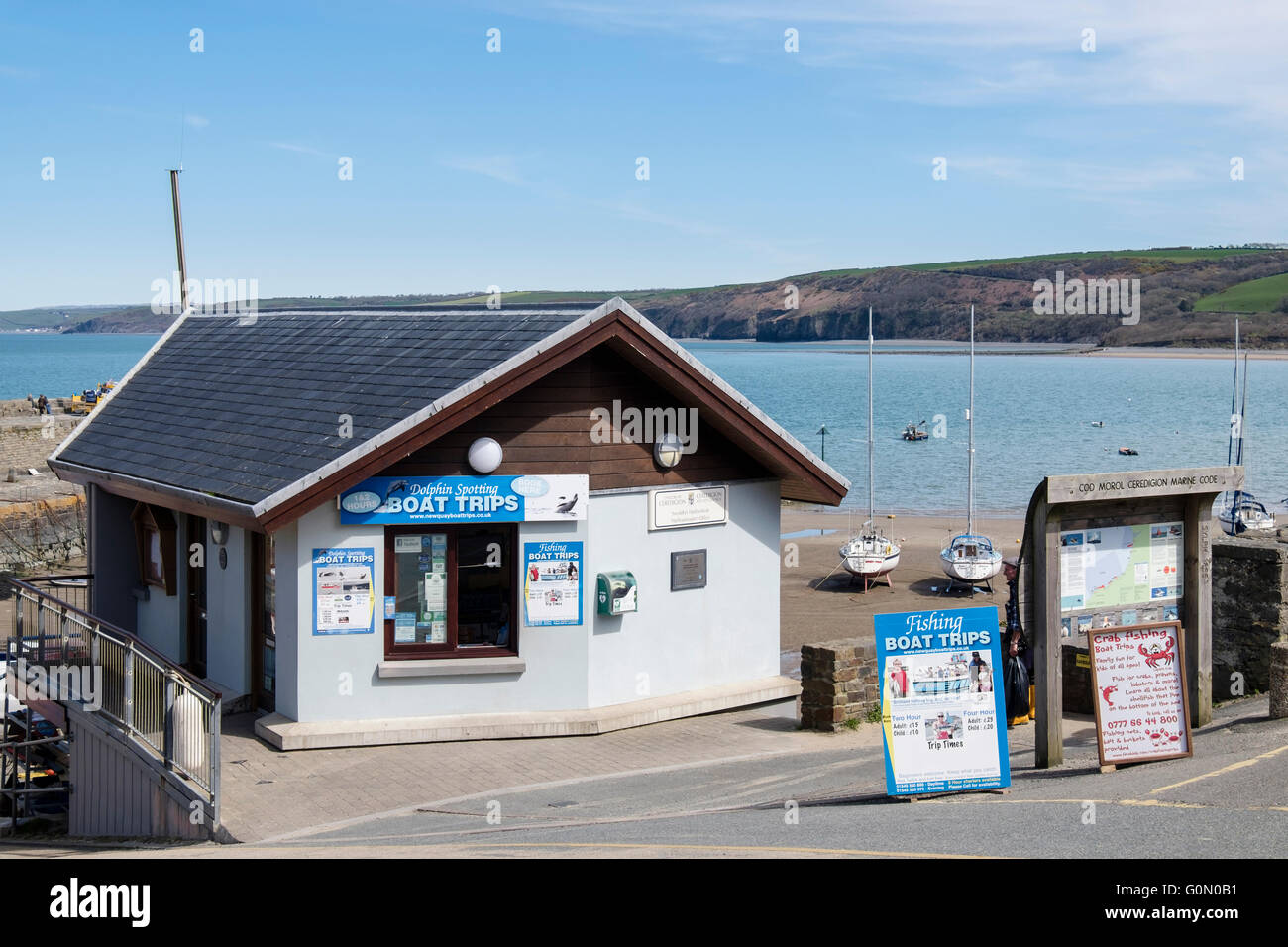 County Council Harbourmaster's Office advertising Dolphin spotting and fishing boat trips from harbour. New - Stock Image