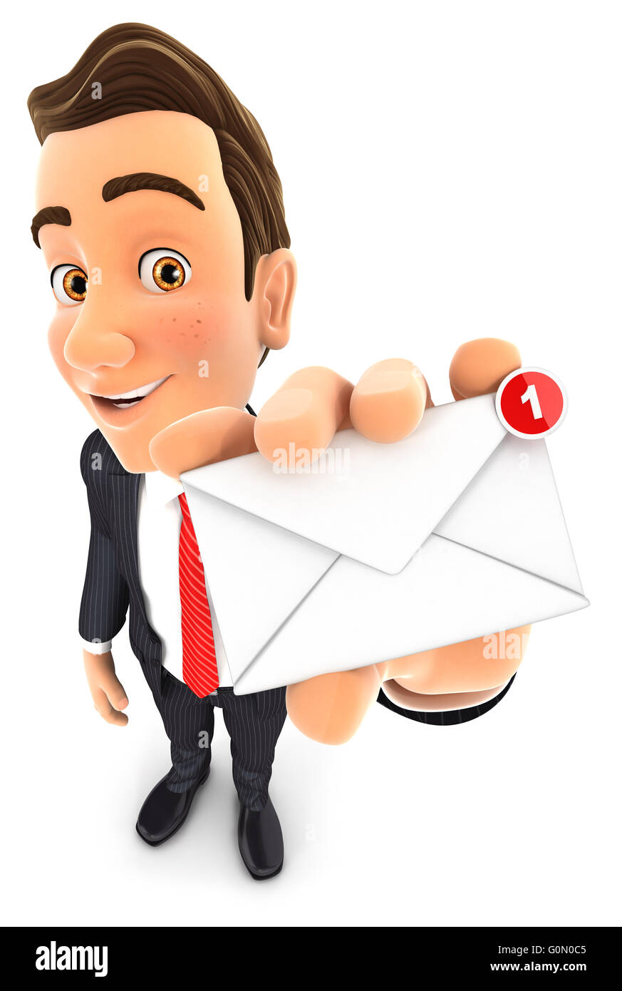 3d businessman receiving one new message, isolated white background Stock Photo