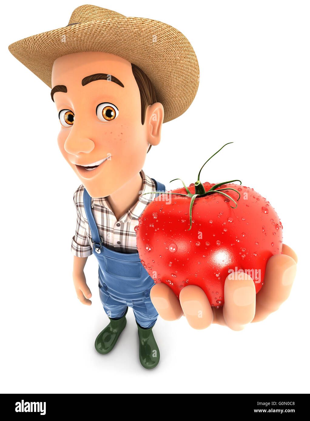 3d farmer holding a fresh tomato, illustration with isolated white background Stock Photo