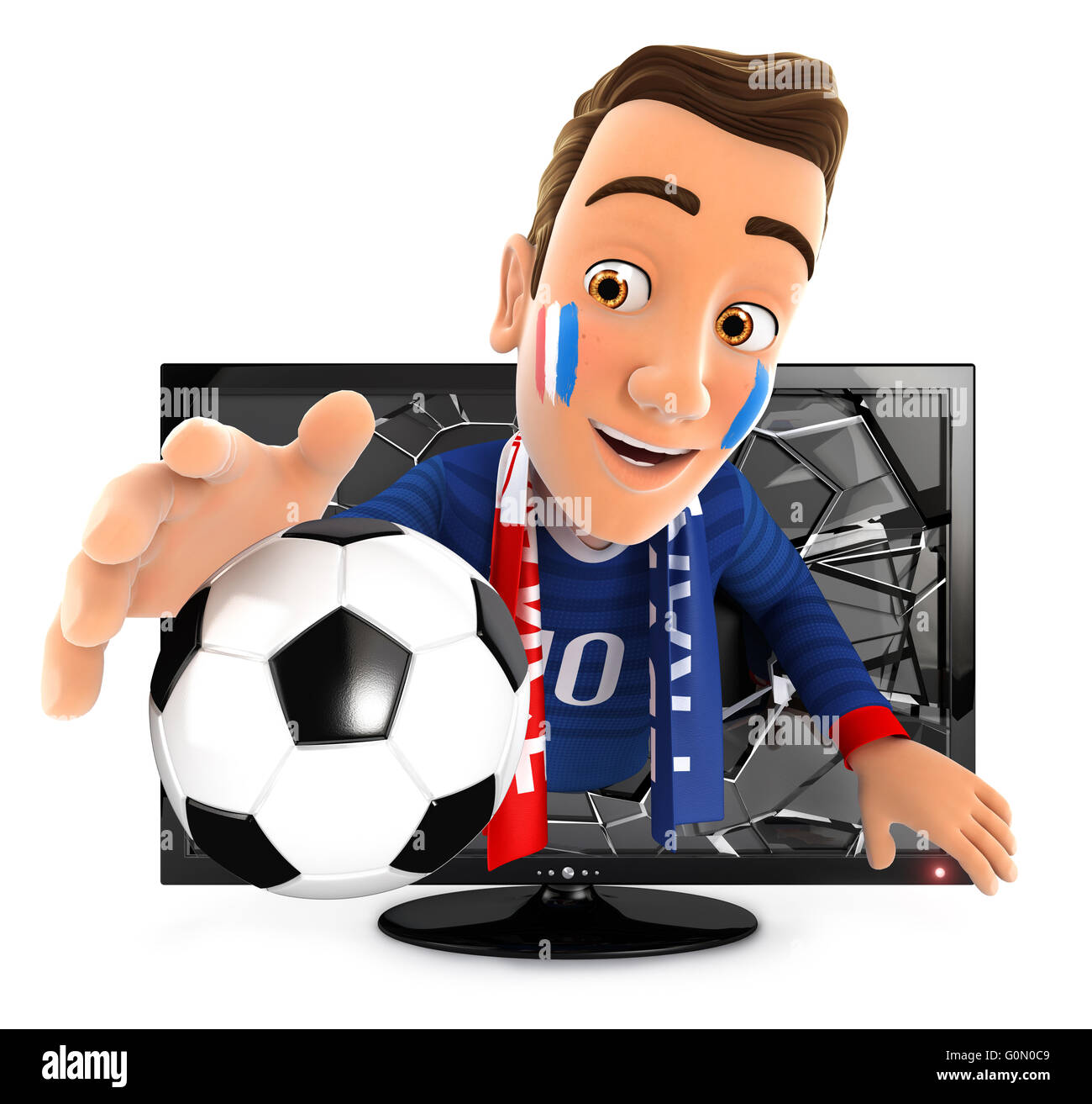 3d french soccer fan coming out of television, isolated white background Stock Photo