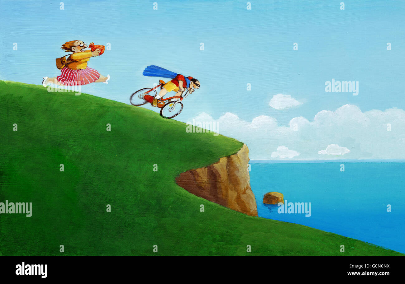 a son ride recklessly on a cliff pursued by a panting mother holding a warm hat - Stock Image