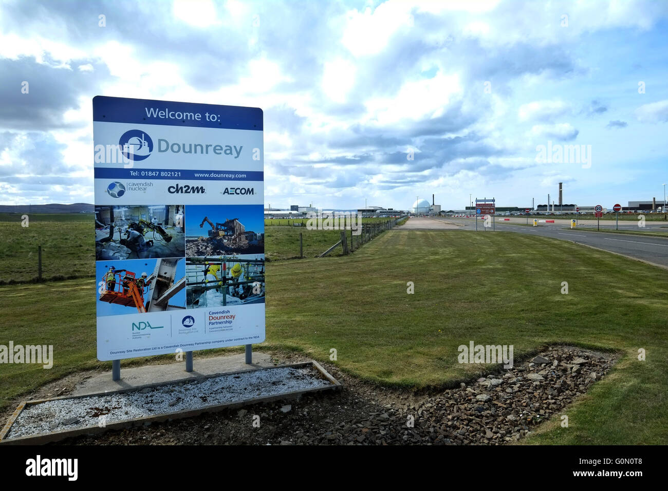 28/04/2016, The main entrance to the former Dounreay Nuclear Power Station, Reay, Caithness, Scotland UK. - Stock Image