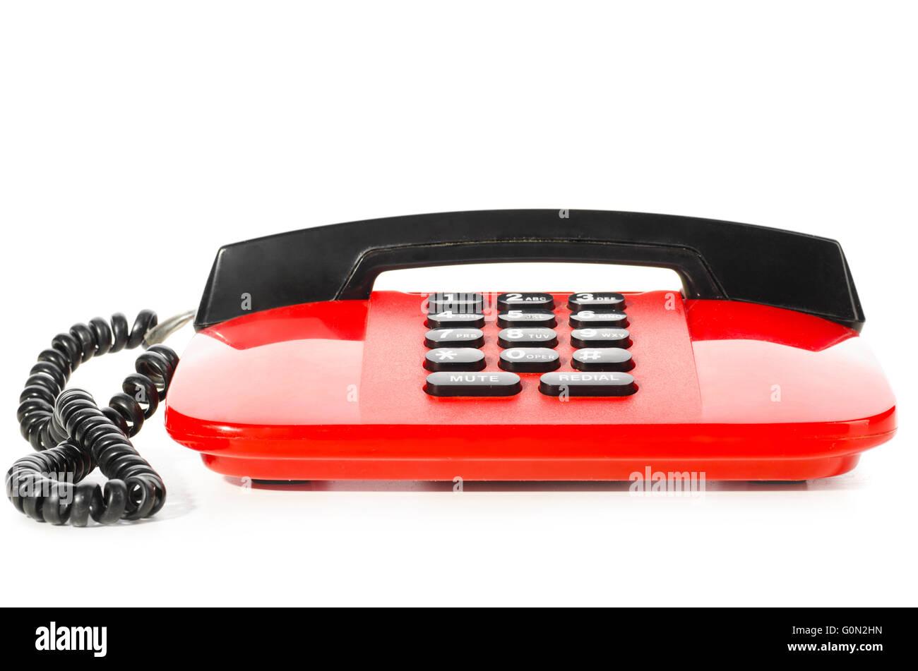 red desk phone Stock Photo