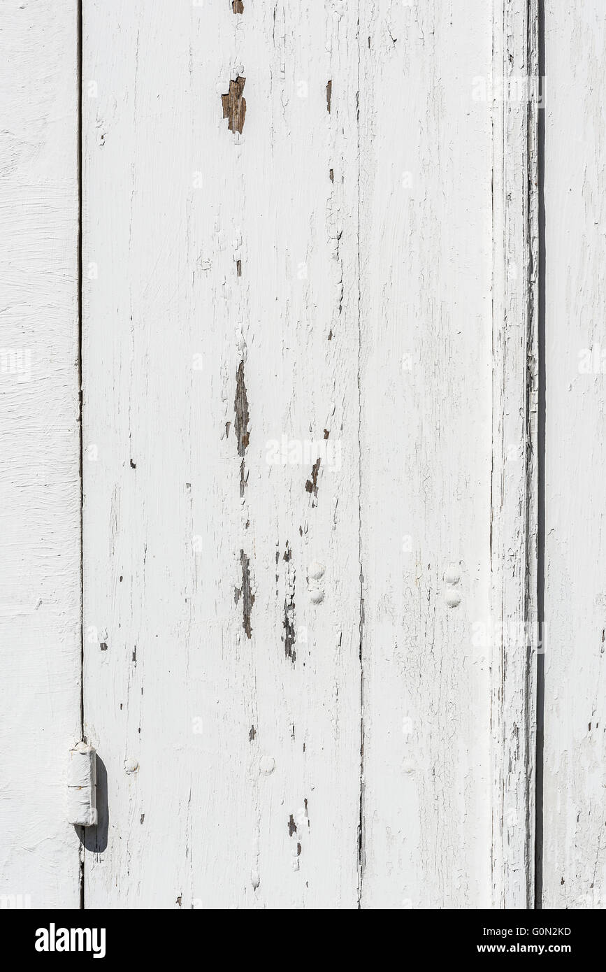 Weathered White Wooden Door With Hinges Textured Paint Chipped And Peeling