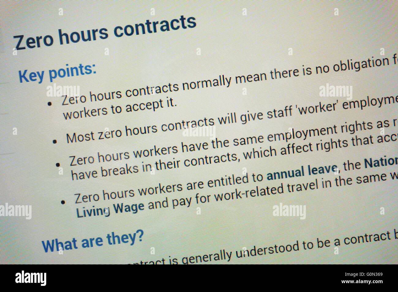 Information about zero hours contracts displayed on the screen of a tablet. - Stock Image