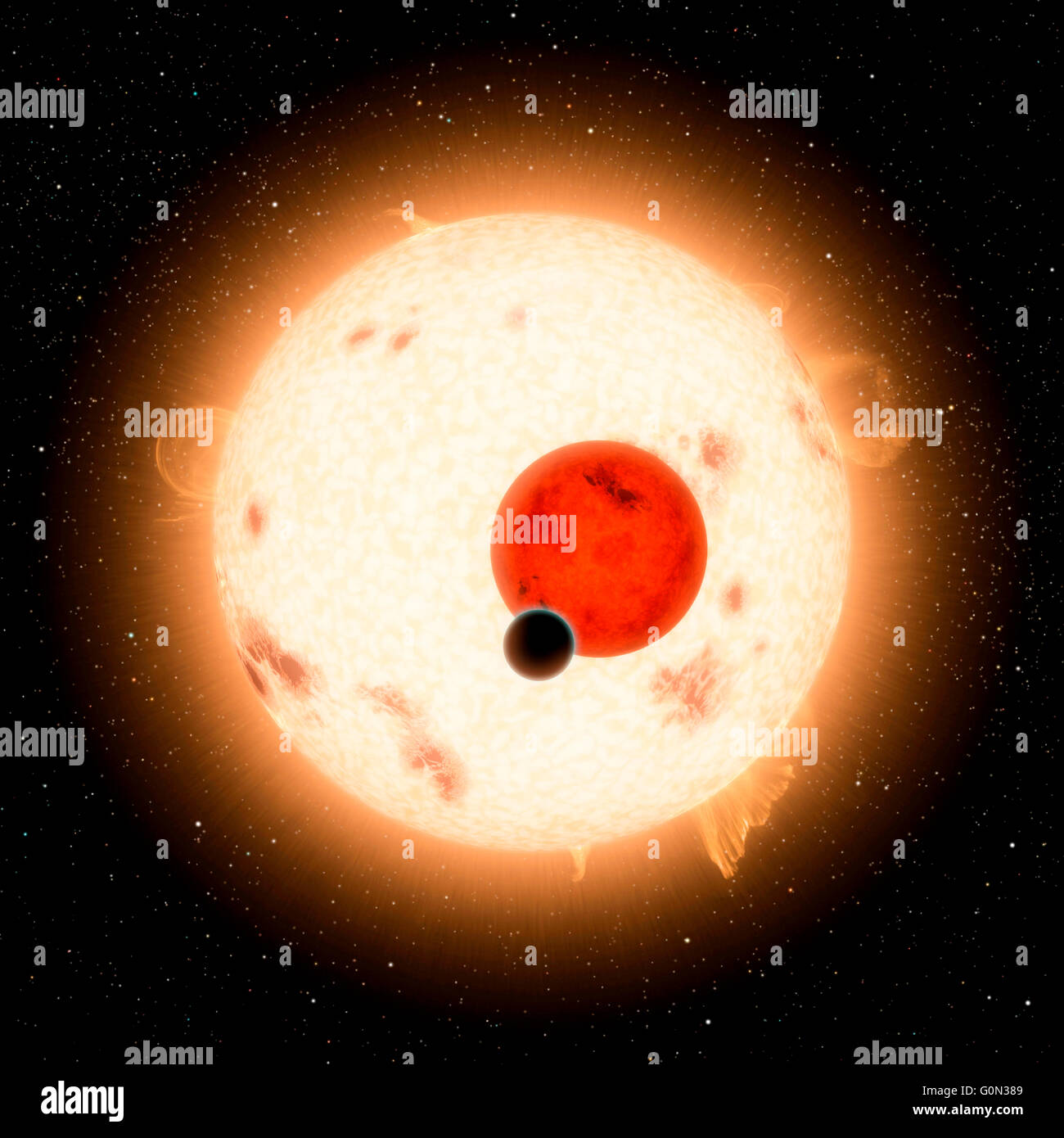 View of sun in outer space in a star field. Elements of this image furnished by NASA - Stock Image
