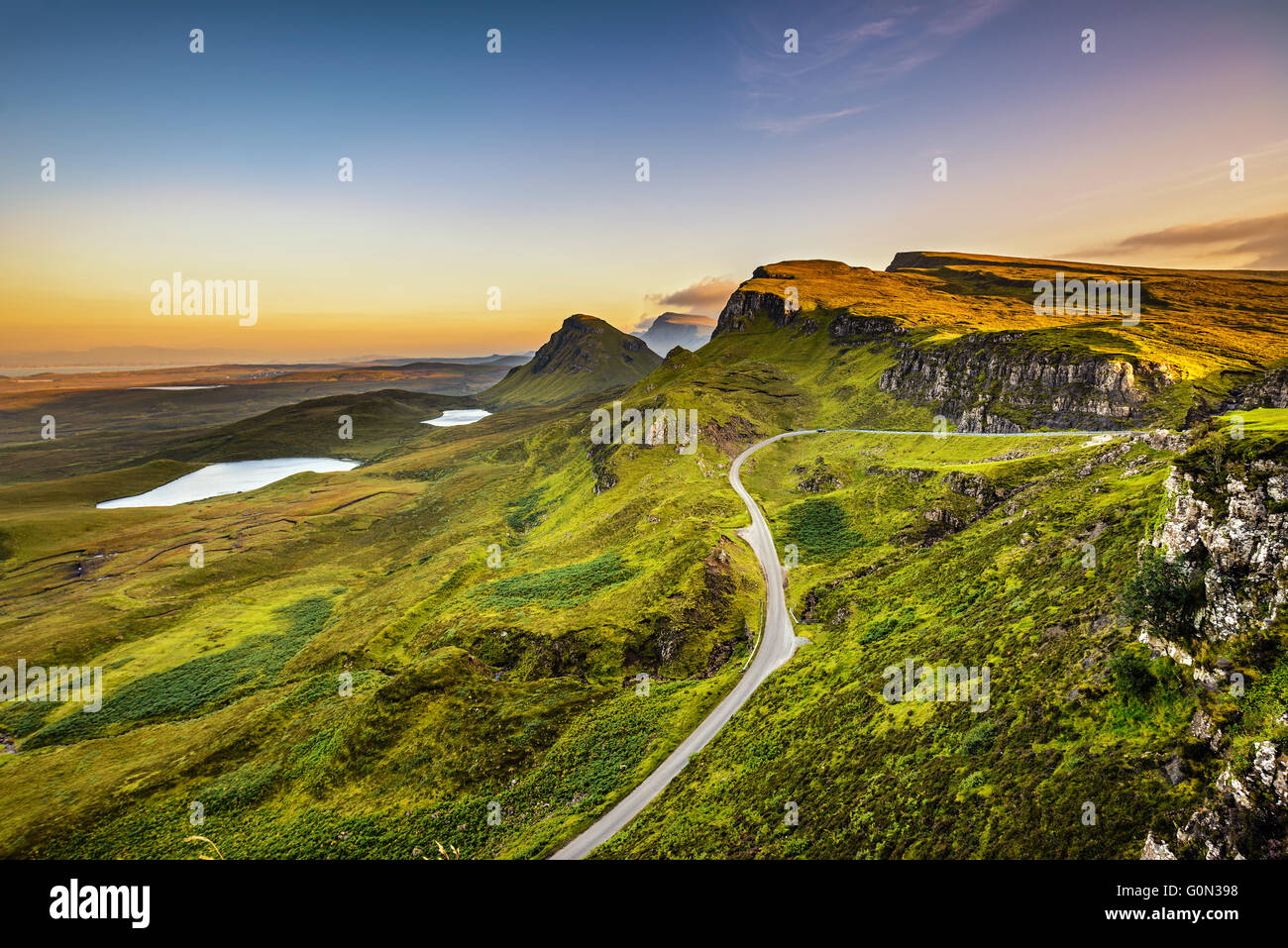 Quiraing mountains sunset at Isle of Skye, Scottish highlands, United Kingdom - Stock Image
