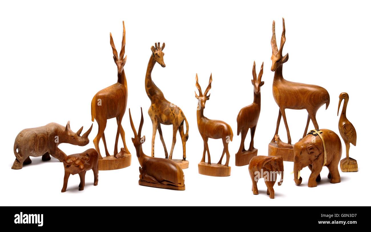 African wooden art and statues - Stock Image