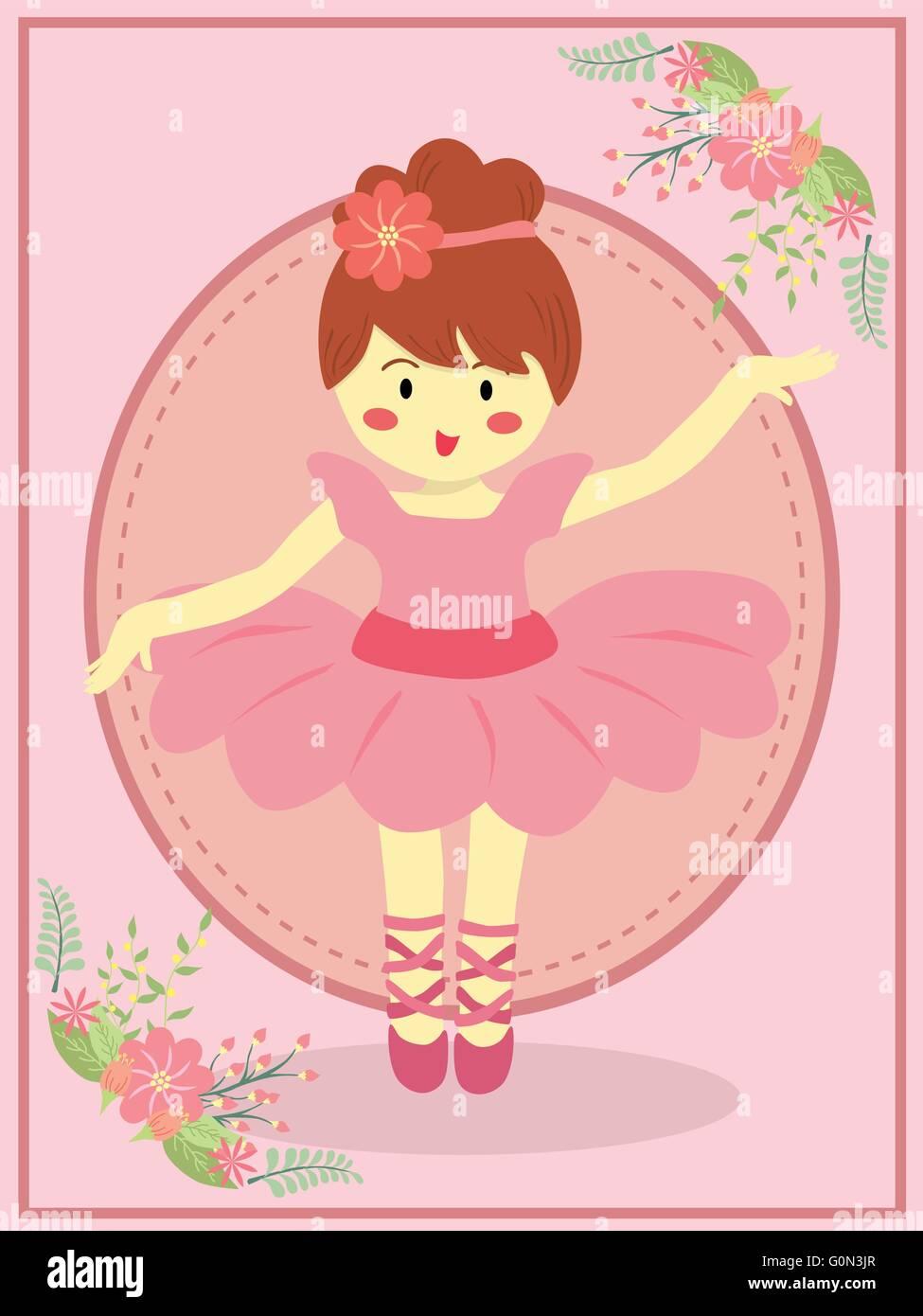4a0560a0c921 Cute ballerina girl with pink dress tutu dancing ballet in pink ...