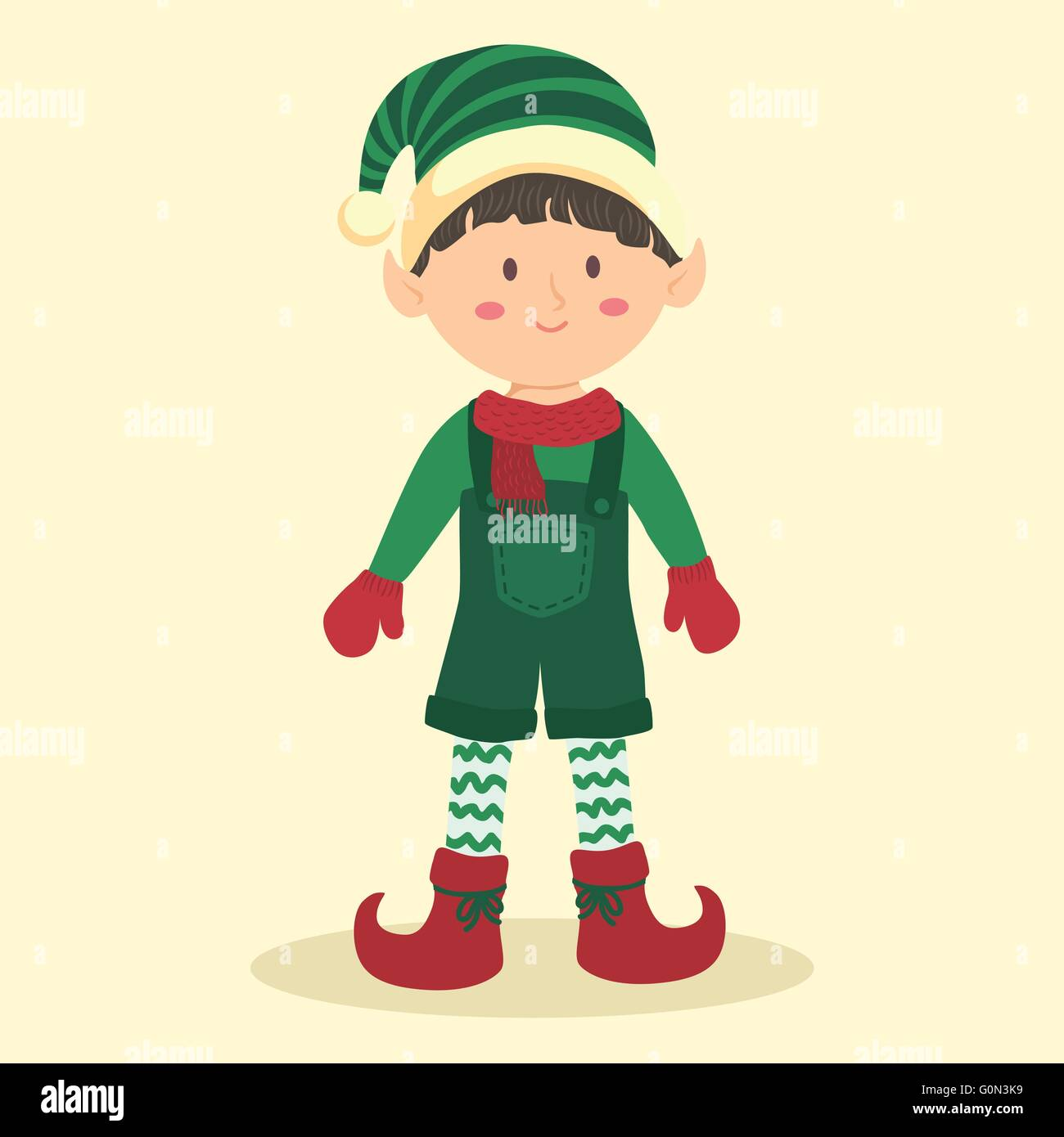 Christmas Elf Boy with Jumpsuit. Illustration of christmas greeting ...