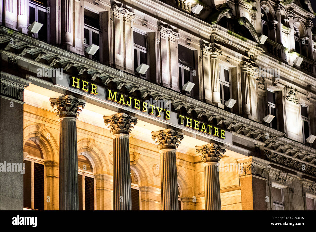 Her Majesty's Theatre London external GV sign - Stock Image